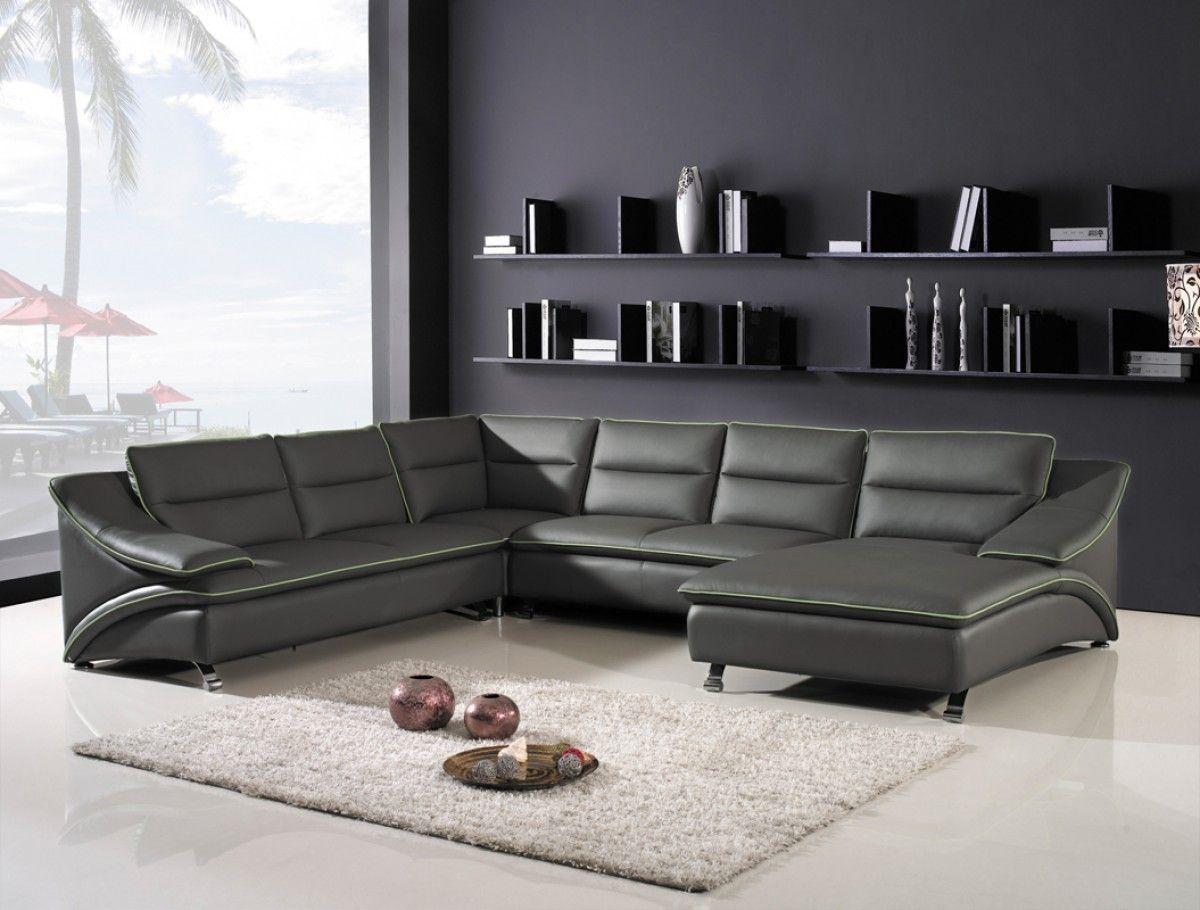 Divani Casa 5076 Black Bonded Leather Sectional Sofa Stylish