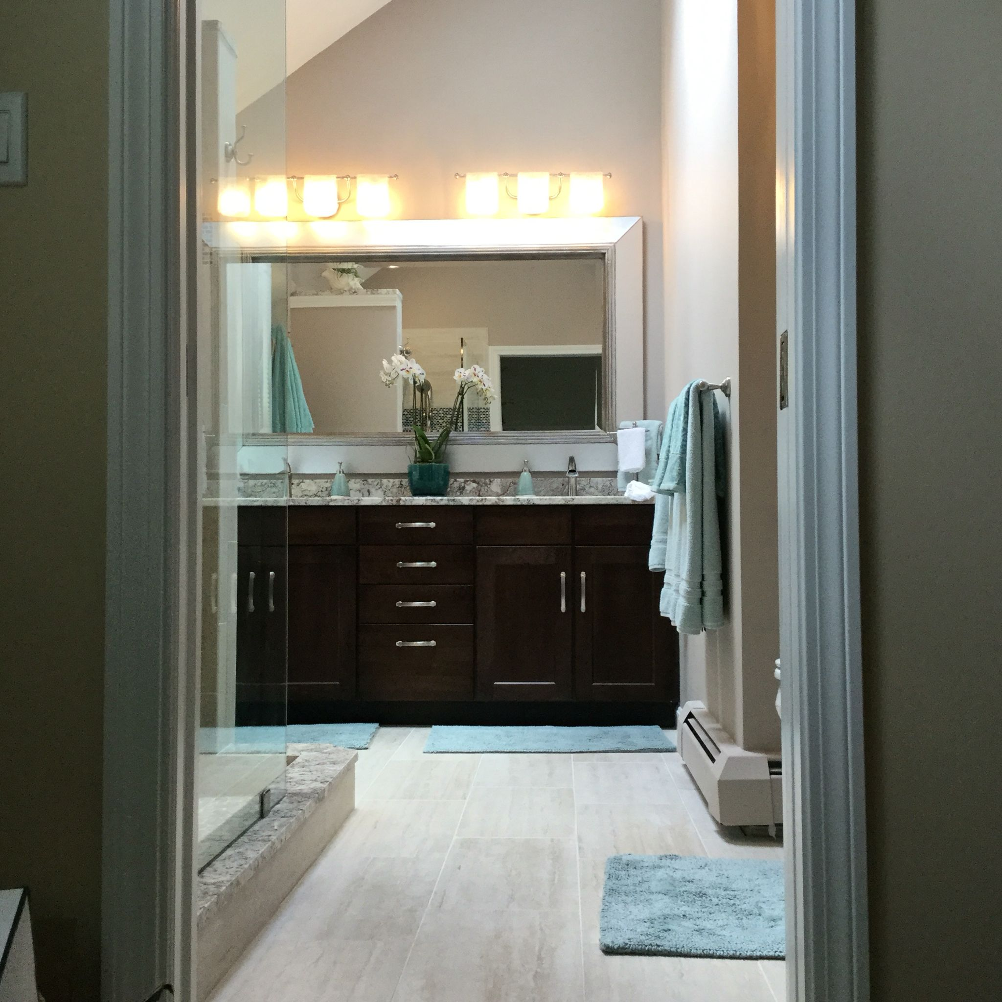 Master bath hardware echoes curves in lighting | Ideas for the House ...