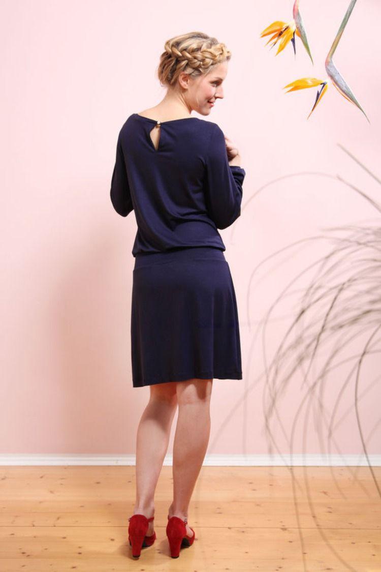 Elegantes Jerseykleid nähen #mittellangeröcke
