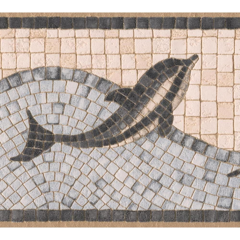 Dundee Deco Border Multi Wallpaper Border 49068 The Home Depot In 2021 Dolphins Mosaic Mosaic Prepasted Wallpaper