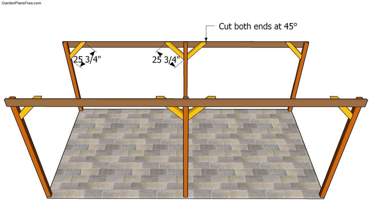 Attaching The Braces Carport Plans Diy Carport Firewood Storage Outdoor