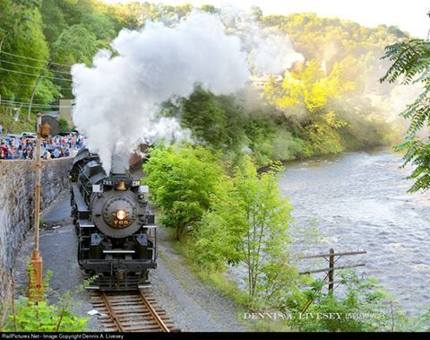 im Thorpe is one of the most scenic towns in the northeastern United States. The only thing that could make the town even better is a visit by a genuine Lima built S-2 class 2-8-4 Berkshire. Photo by Dennis A. Livesey