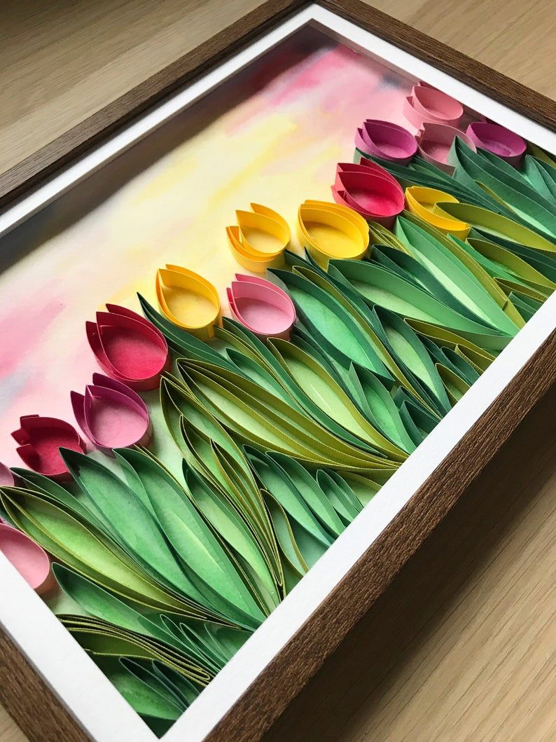 Field of tulips - Quill Paper Art - Framed Floral