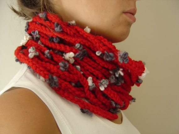 Red Loop Scarf with white and grey flowers Infinity by FZLstudio