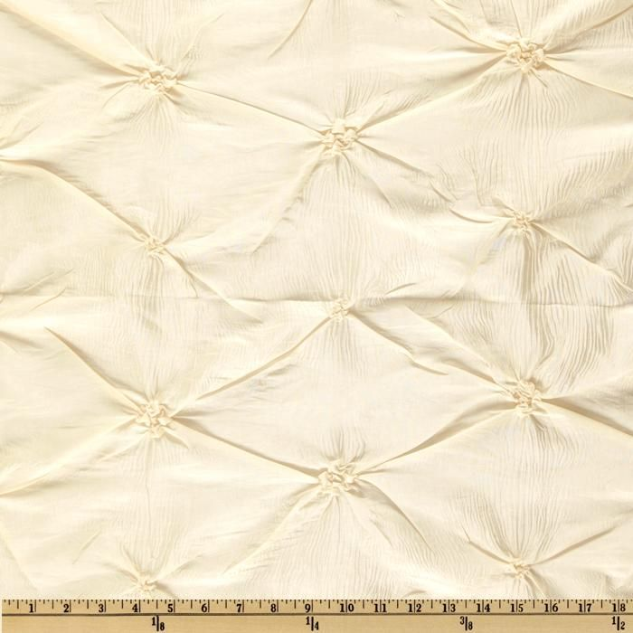 Rosette Iridescent Taffeta Ivory from @fabricdotcom  This lightweight beautiful iridescent taffeta has a rosette ruche of self-fabric. This fabric is exquisite and perfect for duvet covers, pillow shams, toss pillows and window treatment. Cross threads are cream and white.