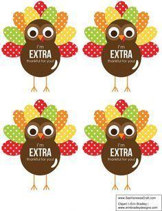 Thanksgiving: Extra Thankful Turkey Printable Gift Tag #eceappreciationgiftideas