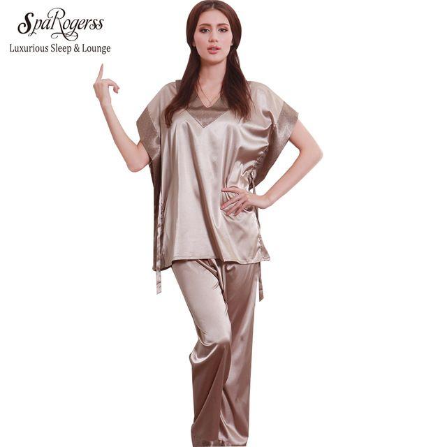 14cc6955867a SpaRogerss Hot Fashion Women Pajamas Summer 2017 Brand Ladies Satin Pijama  Short Sleeve Silk Pajamas Sets Pyjamas Women 10167