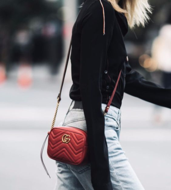 797fde3df53a GG Marmont Matelasse Mini Bag at The Spicy Stiletto Store | Lookave - Bag -  Red Bag - Mini Bag - Crossbody Bag - Shirt - Denim: