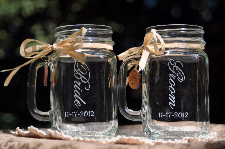 Bride And Groom Wedding Favor Mason Jar Gles Dated Choice Of