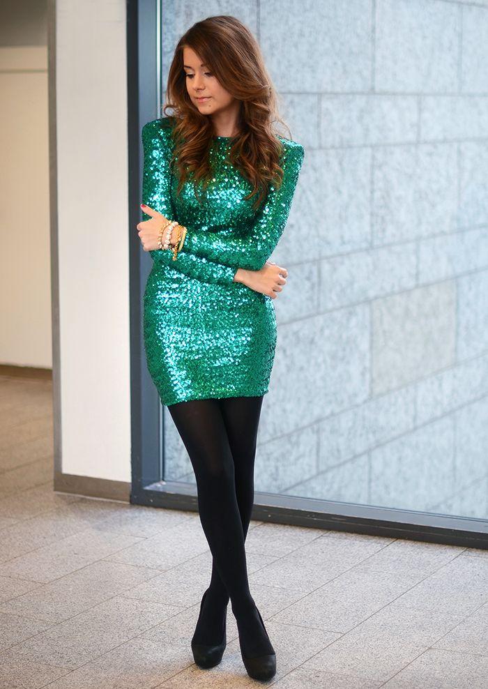 Green Black Sequin Dress
