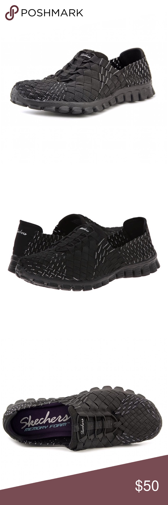 """SKECHERS Black EZ Flex Stretch Weave Walking Shoes NWT SKECHERS black & silver stretch-weave woven """"basket weave"""" walking shoes are magic!   *Metallic accent details for eye-catching style. *Slip-on construction with bungee lace system. *Soft fabric heel strip. *Unlined with a Memory Foam cushioned comfort insole for all-day comfort. *EZ Flex 2 shock absorbing flexible lightweight midsole. *Flexible rubber traction outsole. *Weight: 6 oz  CLOSET RULES: Bundle Discounts * No Trades * Smoke…"""
