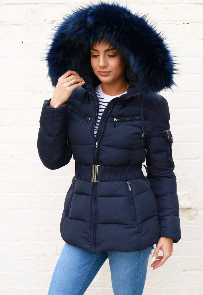 e61b7e326b72 Harper Quilted Longline Hooded Puffer Coat with Faux Fur Trim   Belt in  Navy Blue
