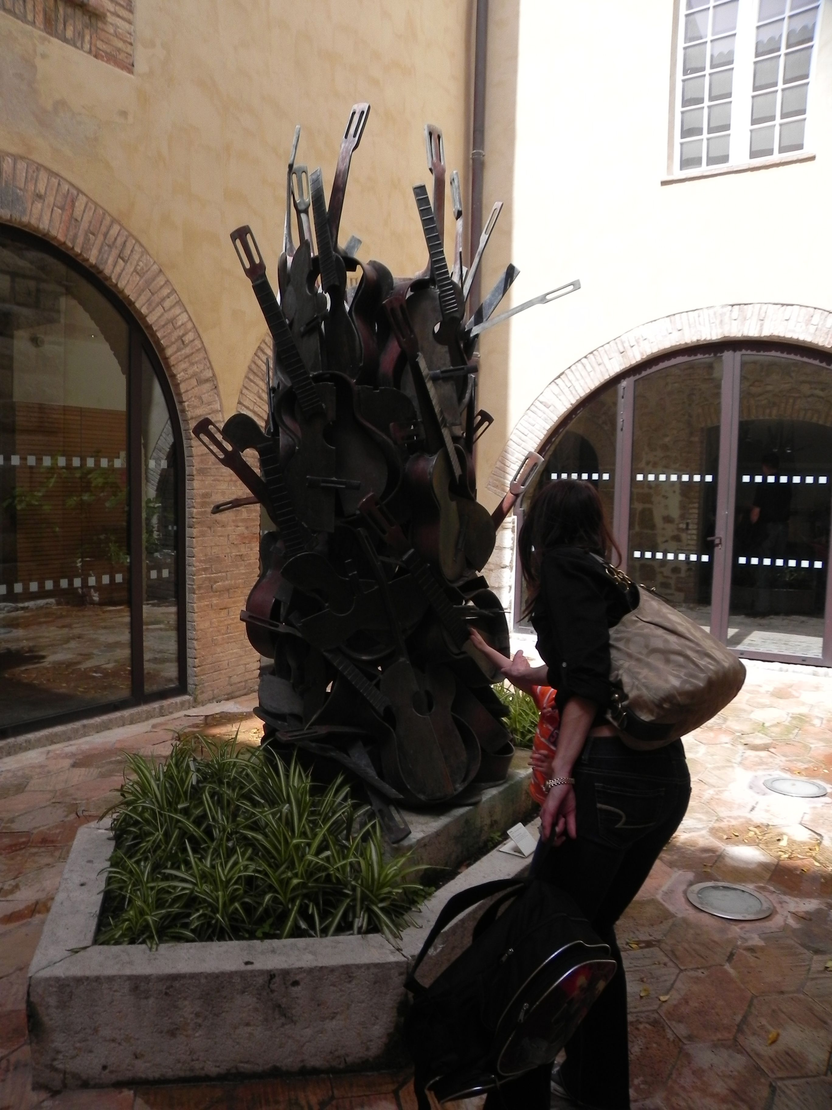 Flat Stanley enjoyed this sculpture at the Musee Picasso in Antibes, France. Can you tell what instrument makes up the sculpture? Flat Stanley figured it out.