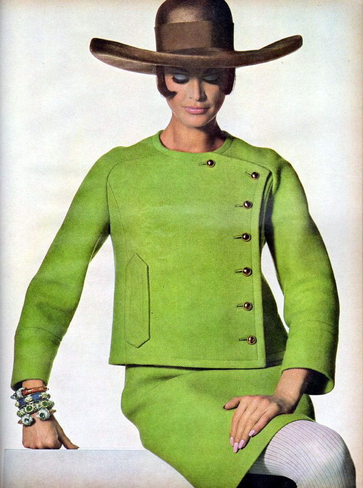Vogue 1967 Fashion vintage style lime green suit military boxy cut ...