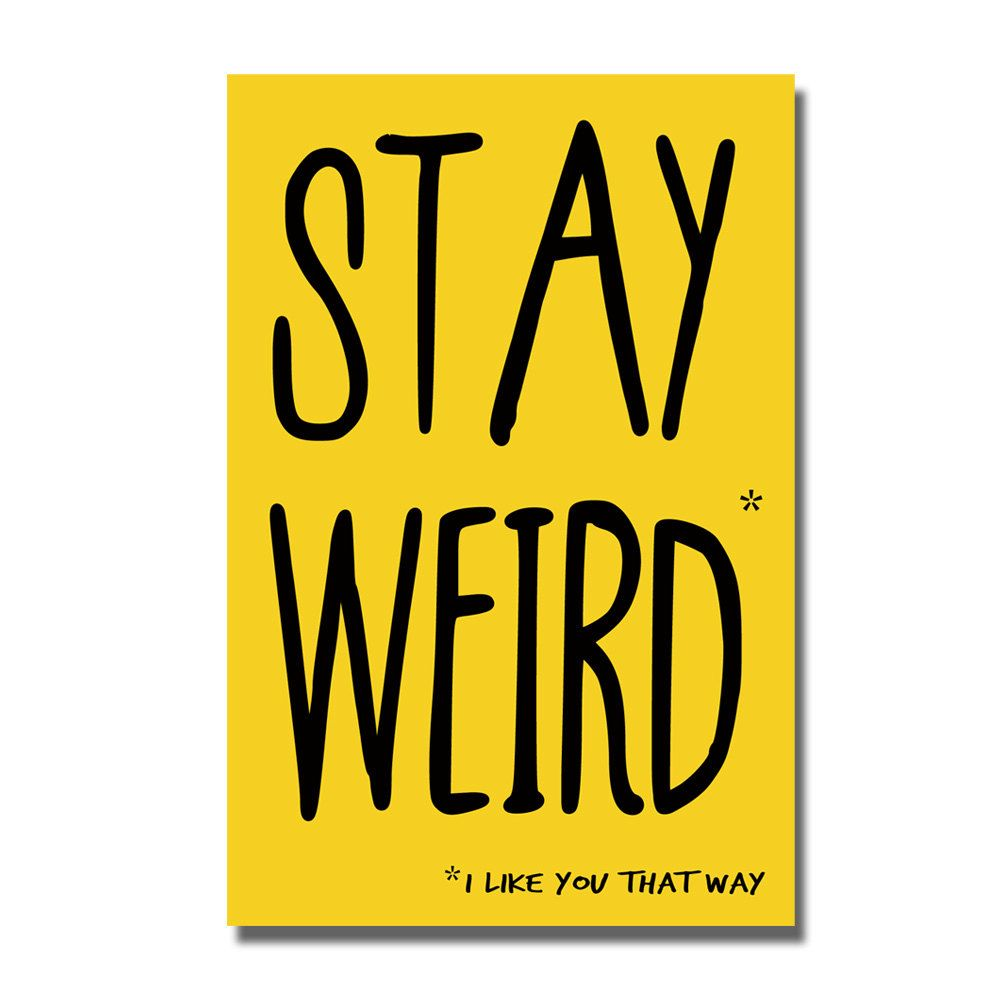 Stay Weird funny anti valentine card Geek by YourMumRang on Etsy
