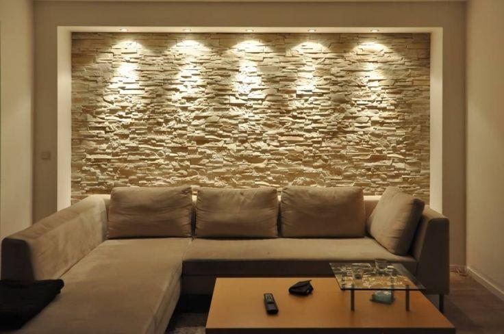 Wohnzimmer Ziegelwand ~ Wandgestaltung wohnzimmer mit tapete beispiele moderne