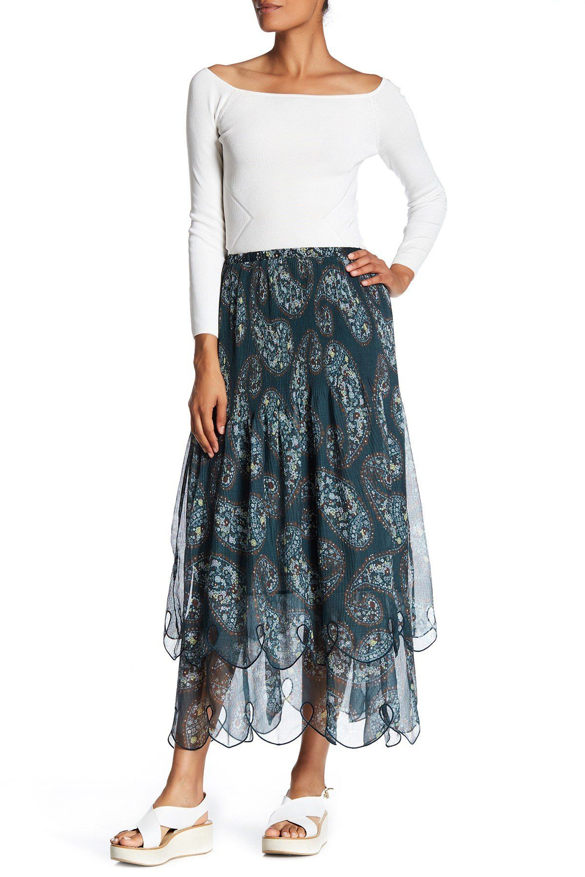 ffefc2e45bd1 Floral Paisley Print Tiered Skirt | Products | Tiered skirts, See by ...