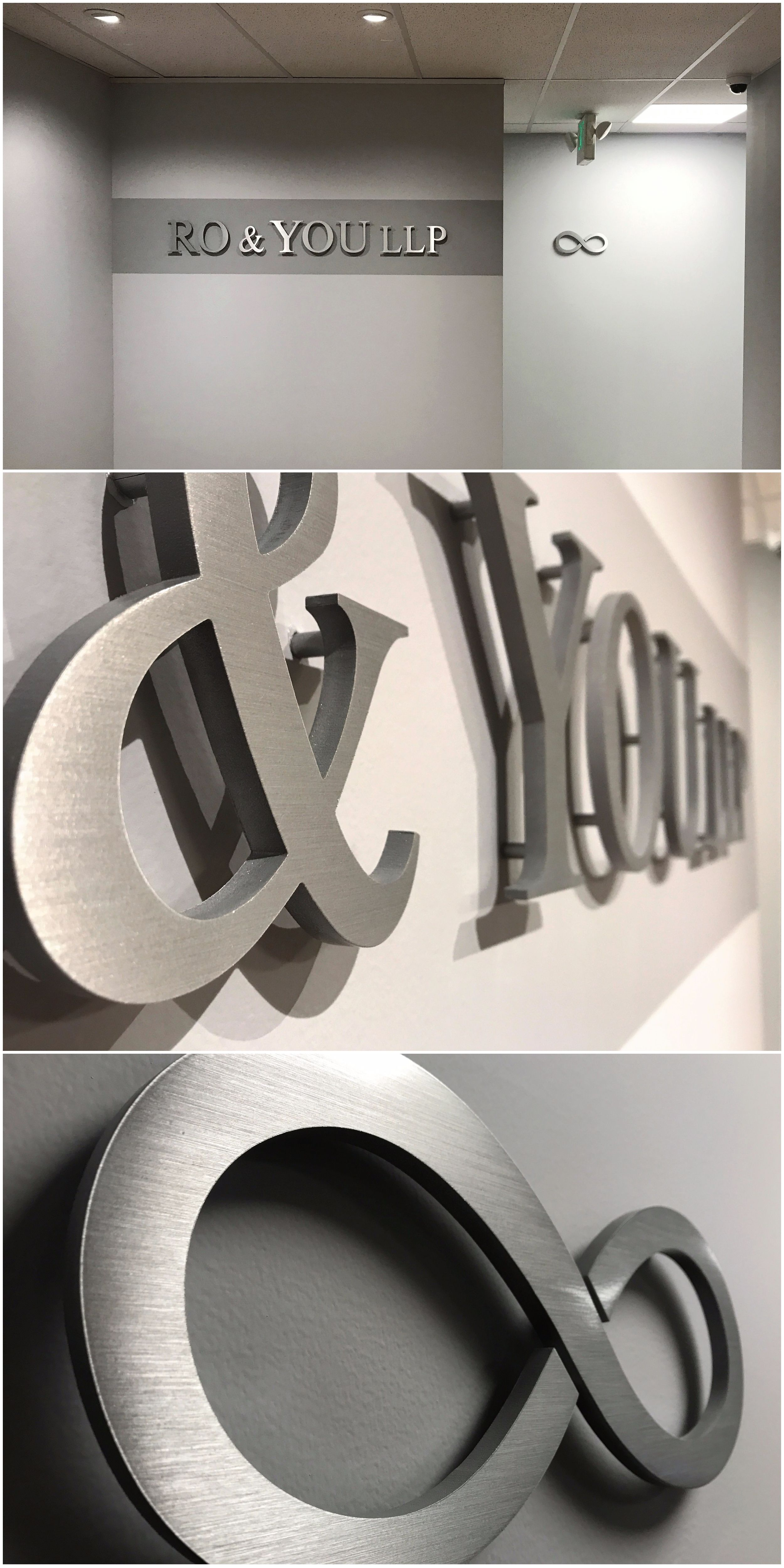 Brushed Aluminum Sign For Law Office In Sherman Oaks Ca Ro You Llp Lobby Sign Store Signage Aluminum Signage