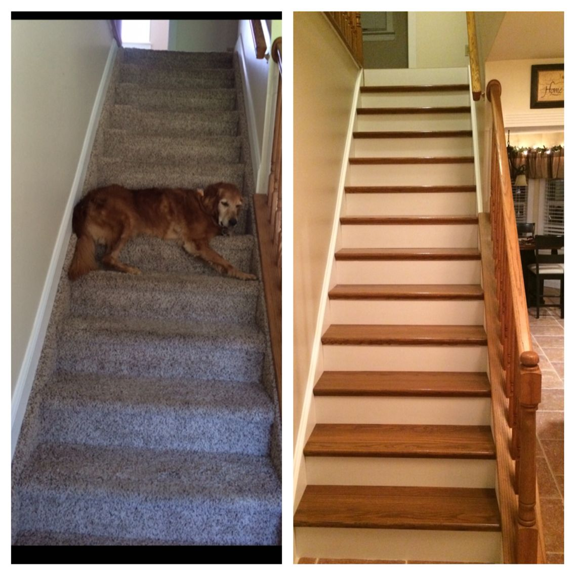 The before and after of our new staircase