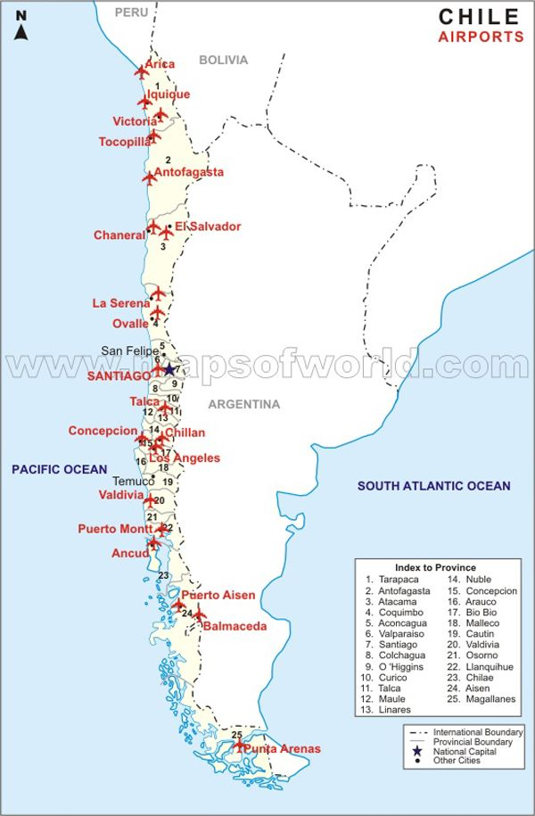 Airport Map Of Chile Un País De Contrastes Pinterest: Map Of South America With Airports At Usa Maps