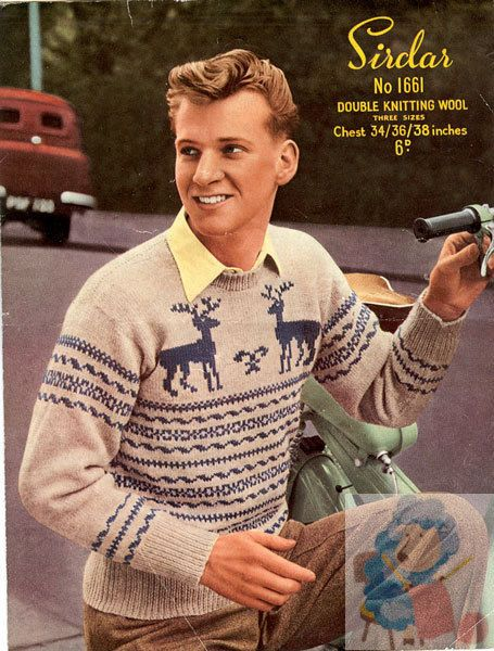 Knitting pattern is for a man's Norwegian or Fair Isle Style ...