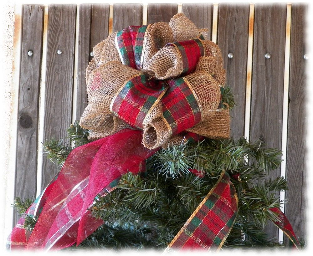 Burlap Tree Topper, Plaid Bow