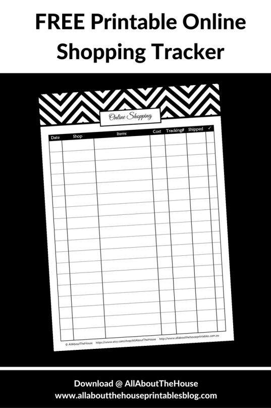 free printable online shopping tracker
