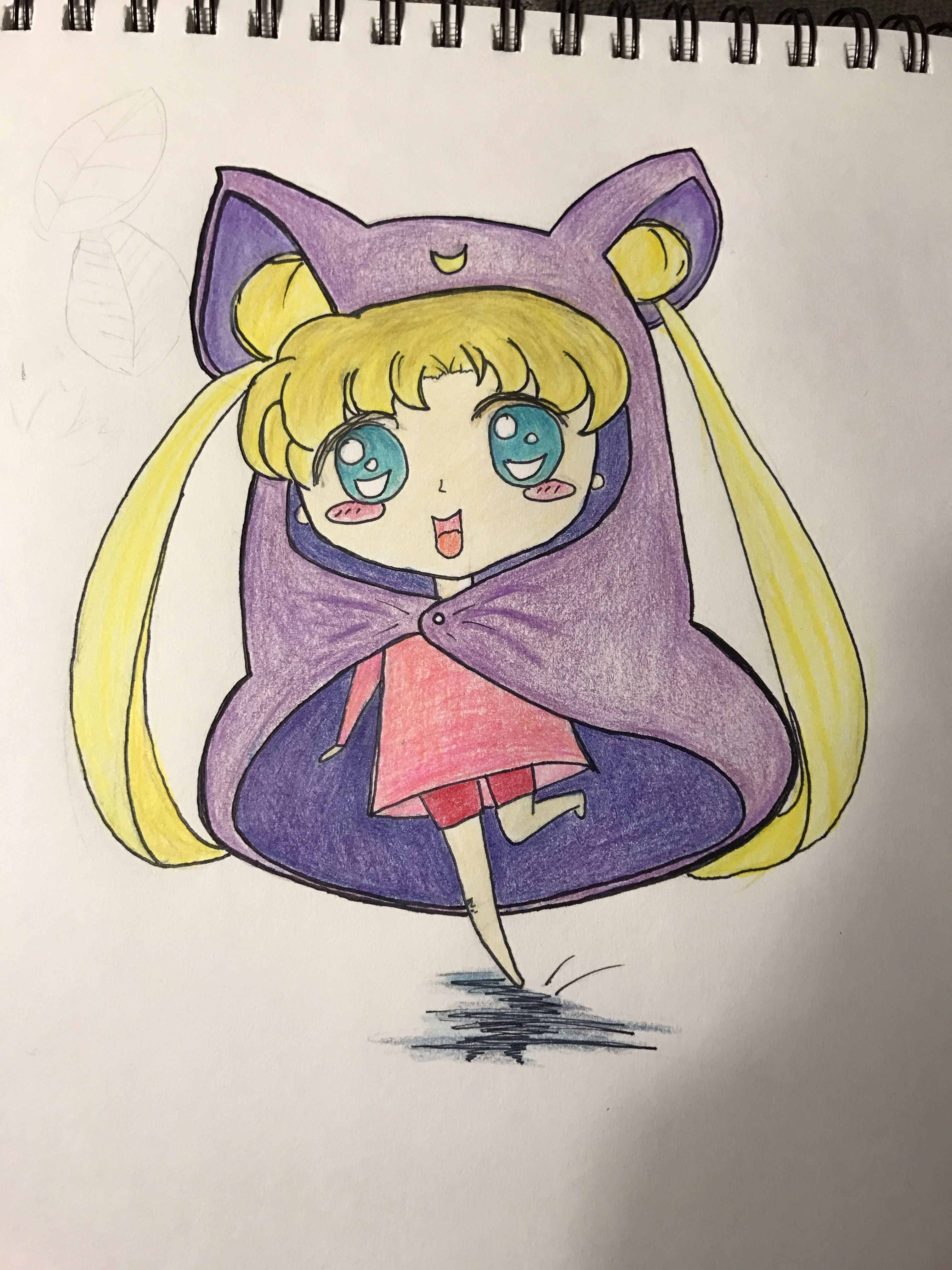 Japanese cartoon anime color pencil drawing cute doodles drawings