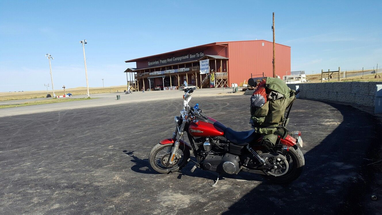 Loaded down 2012 Street Bob, heading home from Sturgis.
