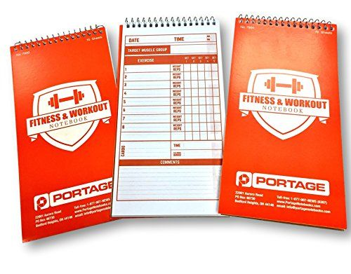 Portage Fitness Workout Notebook 4X 870 Sheet 3 Pack Strong Cover - gym workout sheet