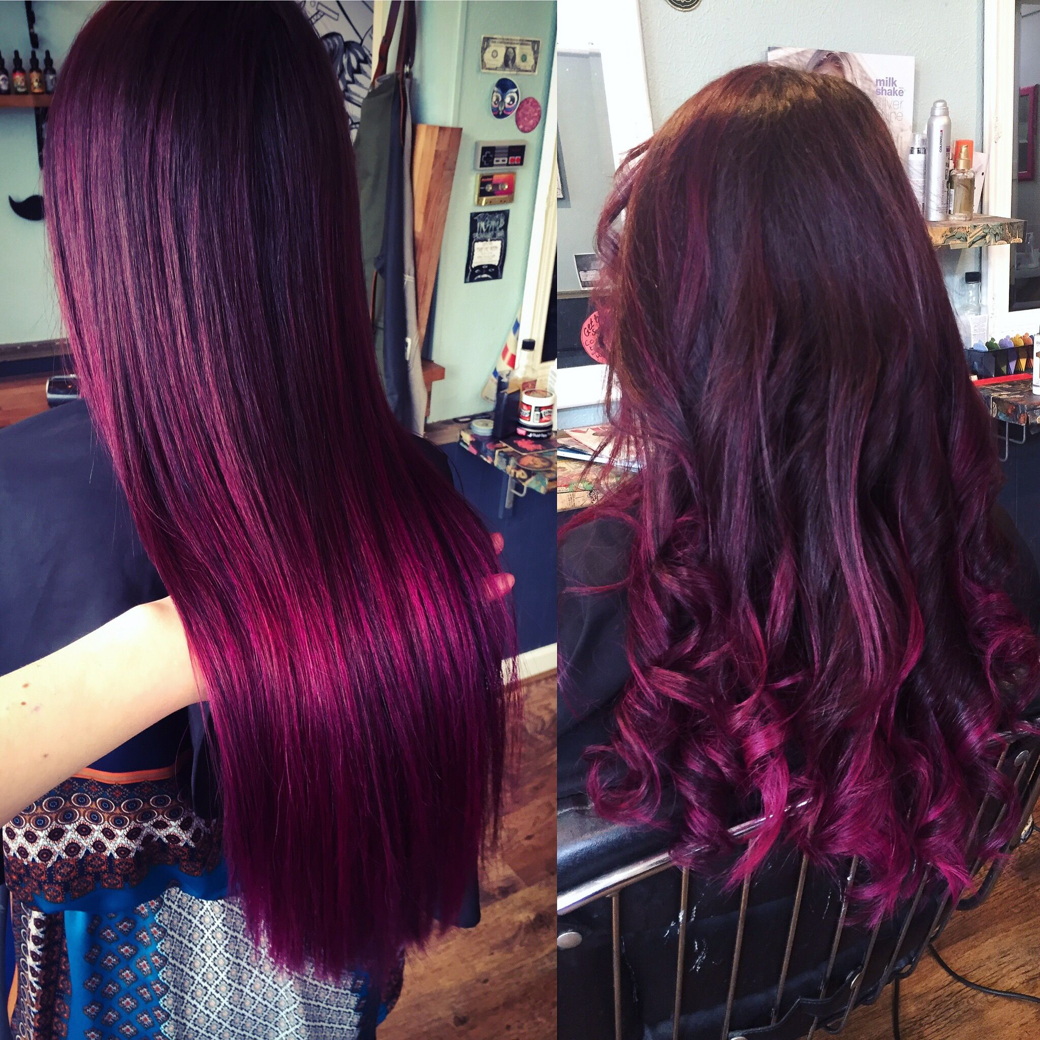 Mulberry Magenta Purple Red Balayage Ombre Brunette Hair Haircolor Steam Hair Design Newquay Salo Hair Color Techniques Magenta Hair Colors Mulberry Hair Color