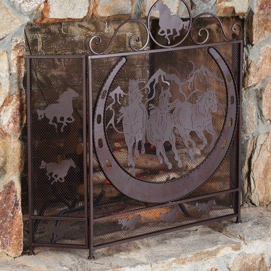Western Horse Horseshoe Fireplace Screen Western Home Decor