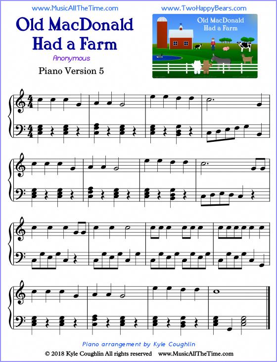 Old Macdonald Had A Farm Advanced Sheet Music For Piano Free Printable Pdf Piano Sheet Music Piano Piano Music