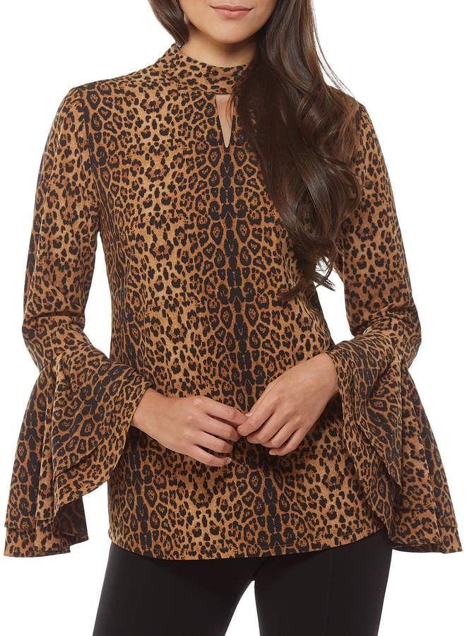 8b3f2a9c5f3 Peter Nygard Keyhole Bell Sleeve Leopard Print Top | Animal Print ...