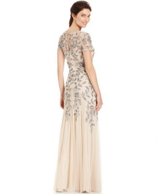111a2afb1b84 Adrianna Papell's petite evening gown radiates pure elegance with a  flattering fit and a dazzling floral embellishments. | Polyester; lining:  polyester ...