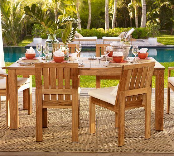 Madera Teak Rectangular Extending Dining Table Pottery Barn - Pottery barn extension dining table