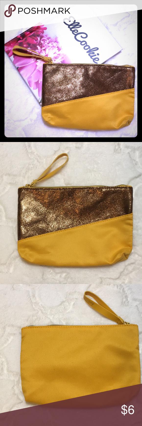 {NEW} IPSY Golden Jewel Toned Makeup Bag Colorblock Makeup