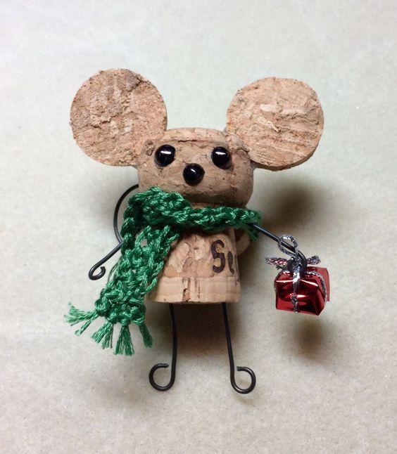 lindo ratoncito de corchopara navidad Navidad Pinterest - manualidades para navidad