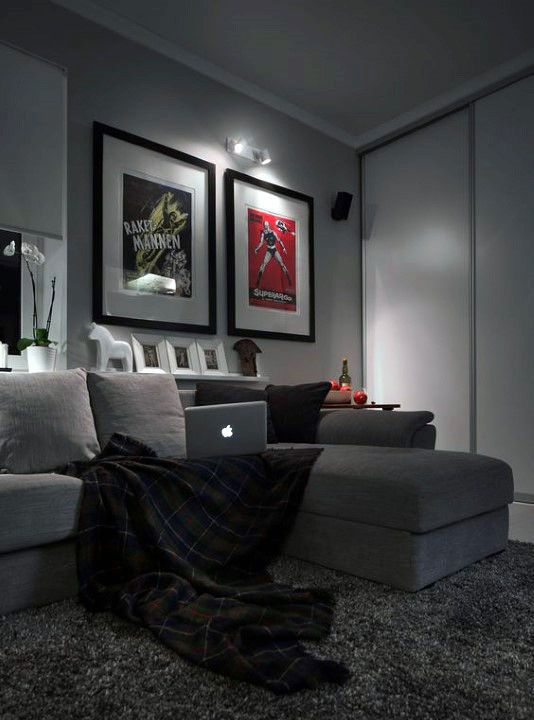 Mens Bachelor Pad Living Room With Grey Color Scheme Home Decor