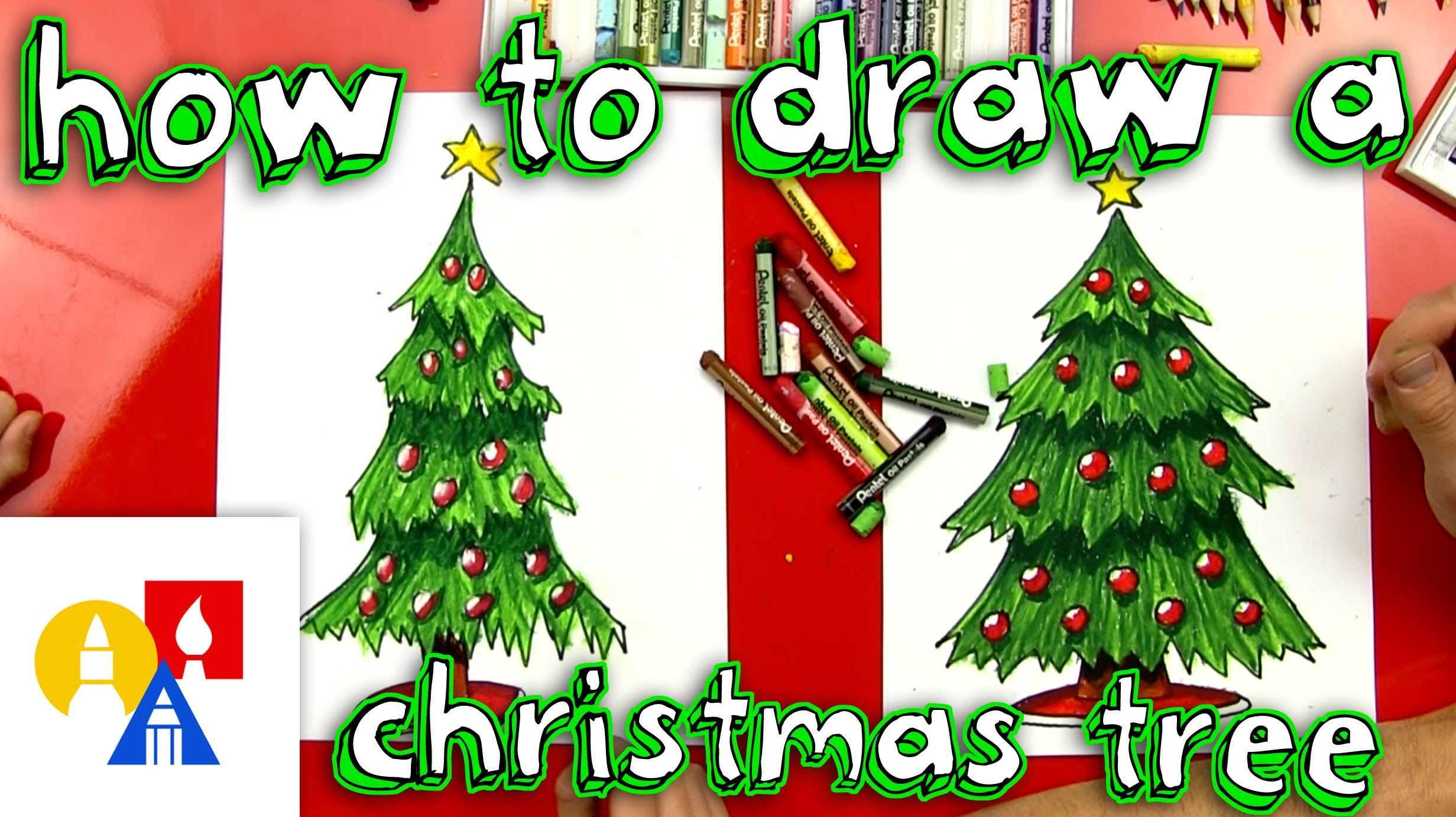 Learn How To Draw And Color A Christmas Tree With Us Grab A Marker And A Piece Of Paper And Follow Christmas Tree Drawing Christmas Tree Art Art For Kids Hub