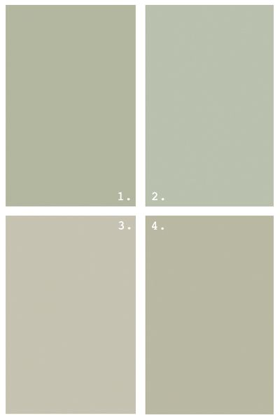 Grey Greens Benjamin Moore 1 Croquet 2 Aganthus Green 3 Paris Rain 4 Tree Moss