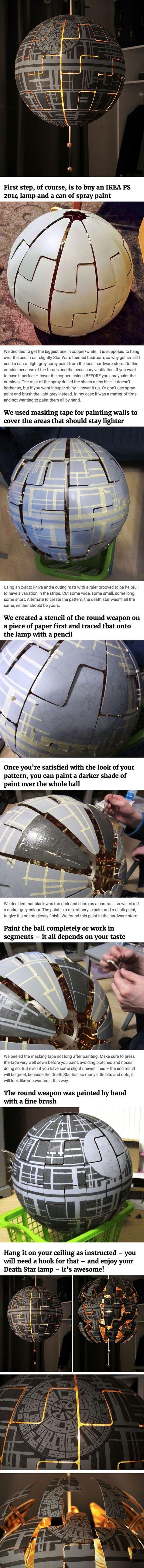 Ikea Lamp Turned Death Star Star Wars Room Star Wars Bedroom Star Wars