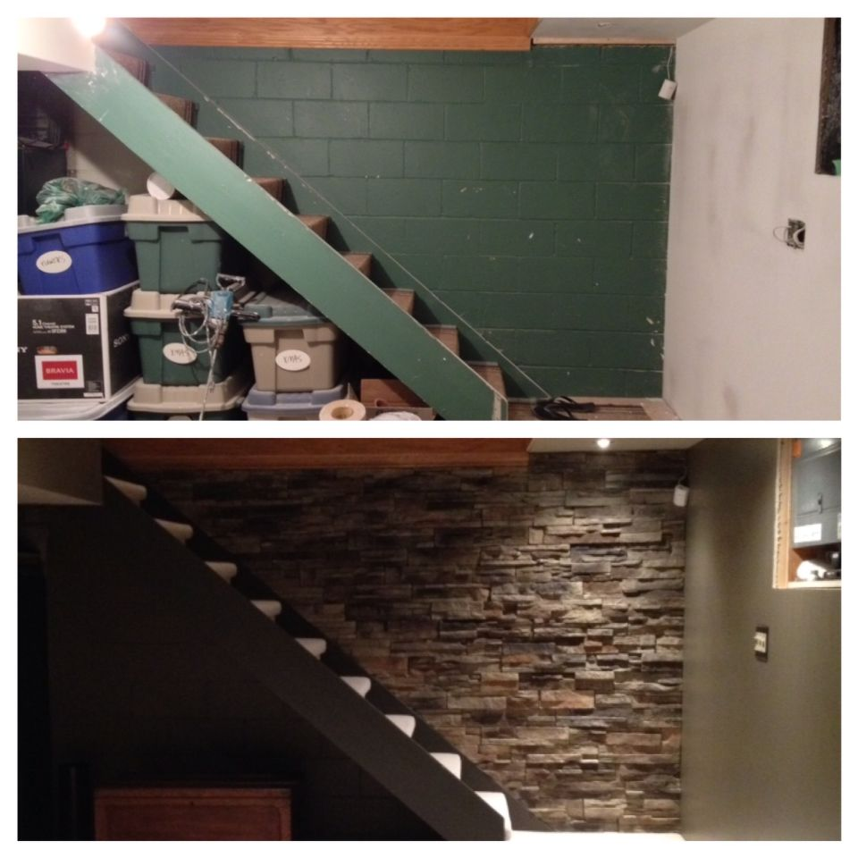 Basement Stairs. Before And After. Ugly Painted Cinder
