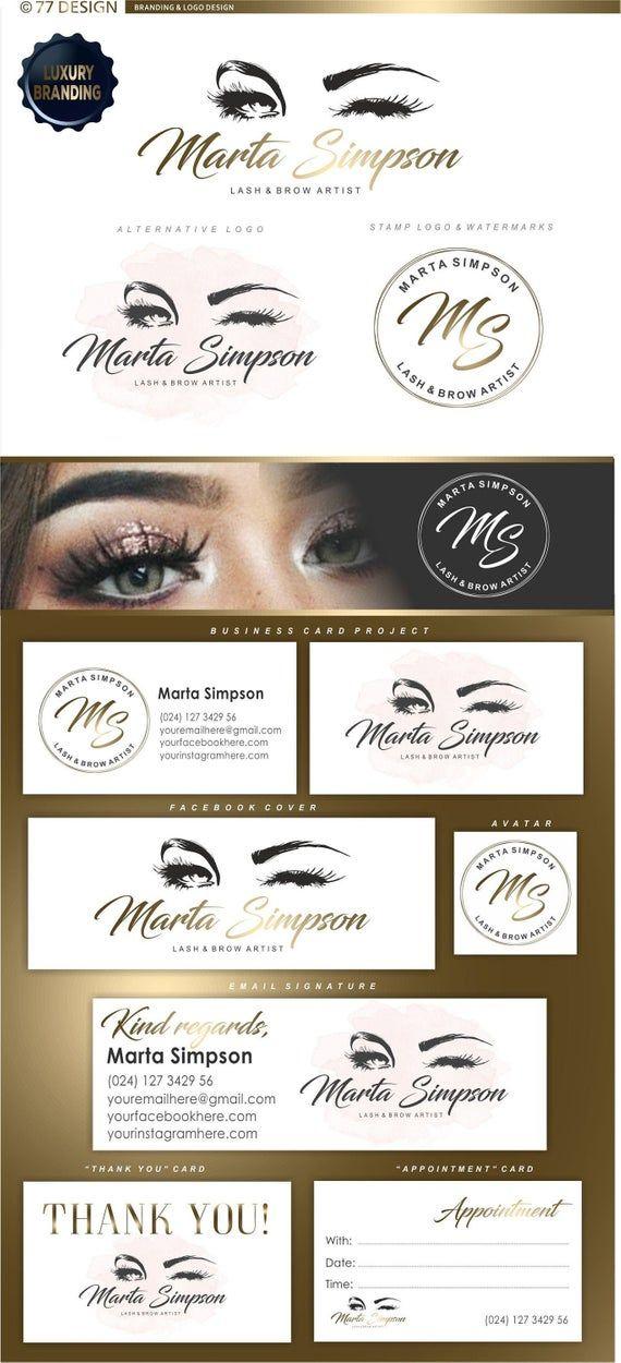 Eyelash branding kit, Lash artist logo design, Premade