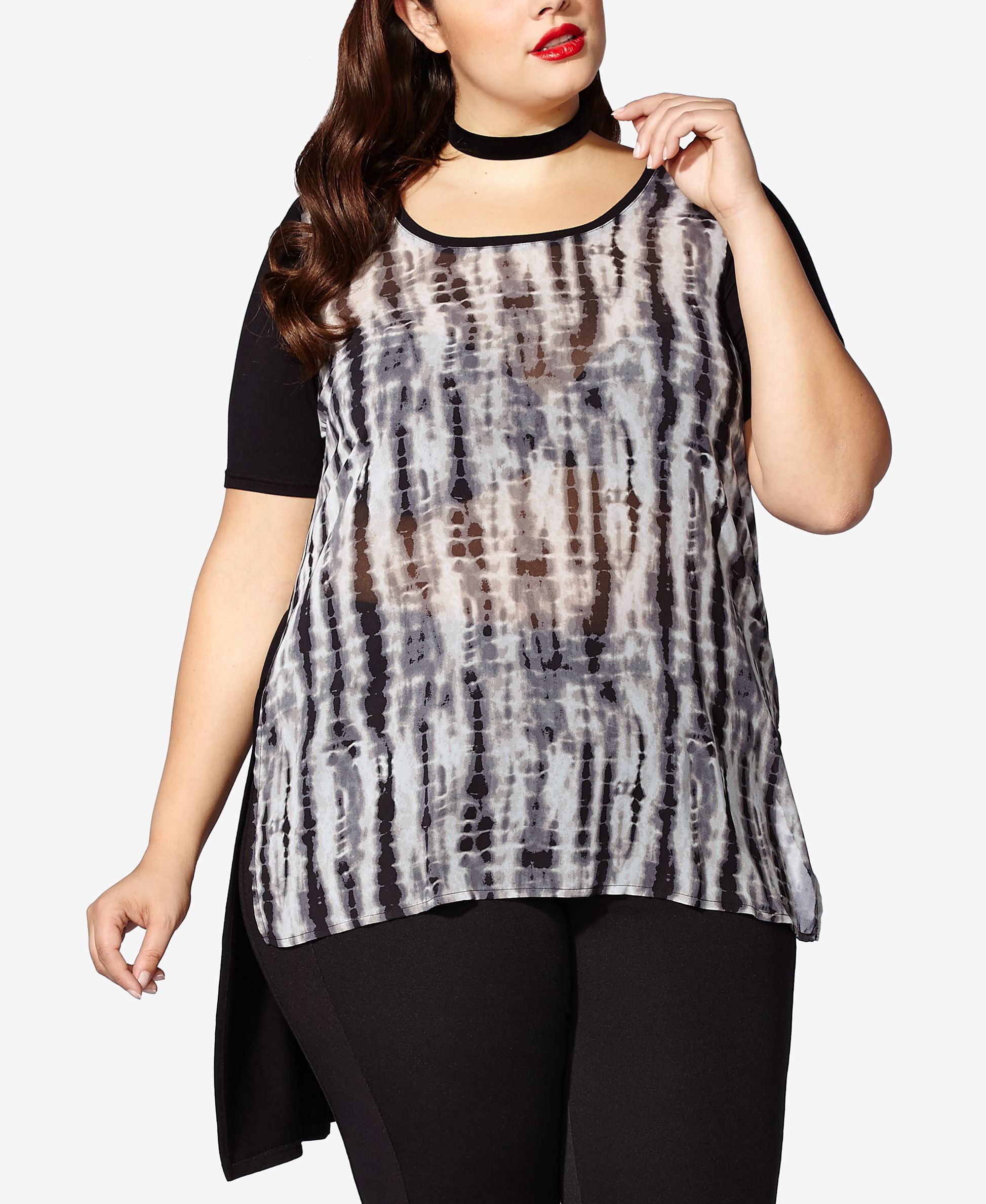 e4876e3dda8 Plus Size Sheer Sleeve Tops