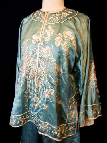 9cf86d35b2 ANTIQUE Chinese SILK EMBROIDERED Robe Jacket Pants Pajama SET 1920s 19th  20th c Curatorial Vintage