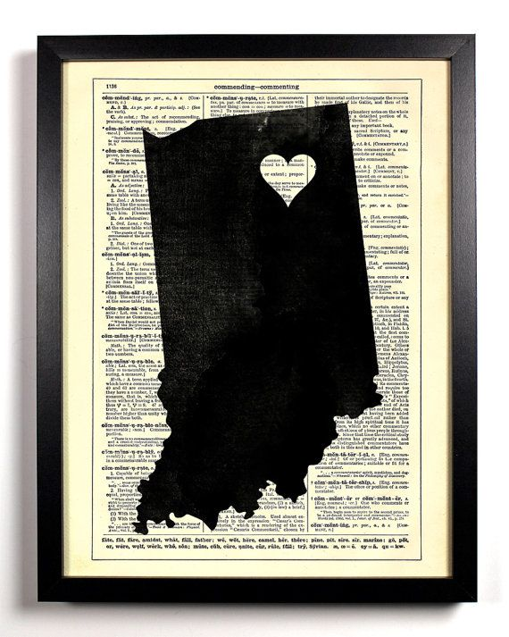 Indiana State Dictionary Book Print Upcycled By Staygoldmedia