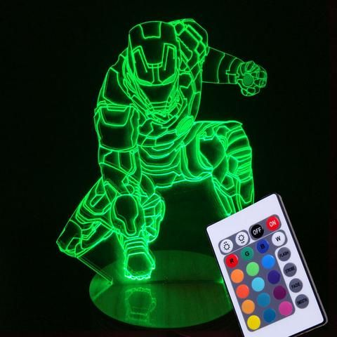 Avengers 3d Ironman Marvel Led Night Lamp With Remote Oswietlenie