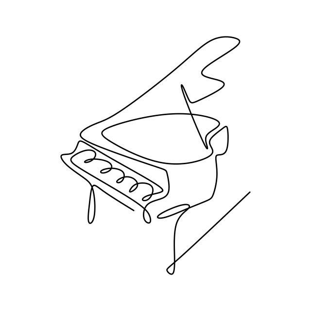 ミニマリストデザイン特性を持つ連続描画ラインピアノ楽器, 抄録, アート, アートワーク画像素材の無料ダウンロードのためのPNGとベクトル