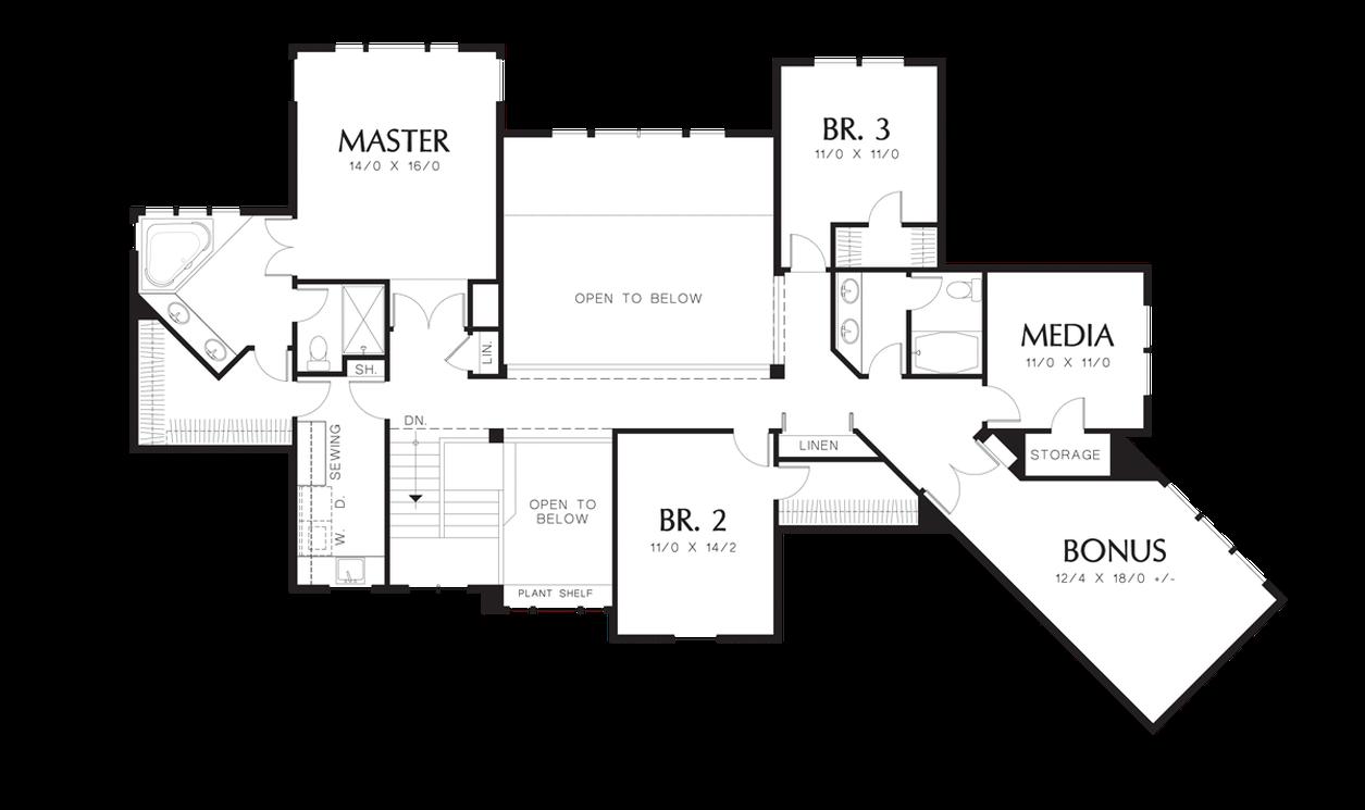Upper Floor Plan Of Mascord Plan 2421 The Ingram Two
